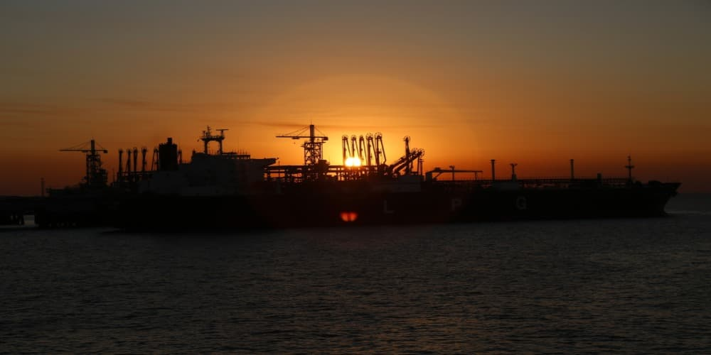 logistics ship at sunset